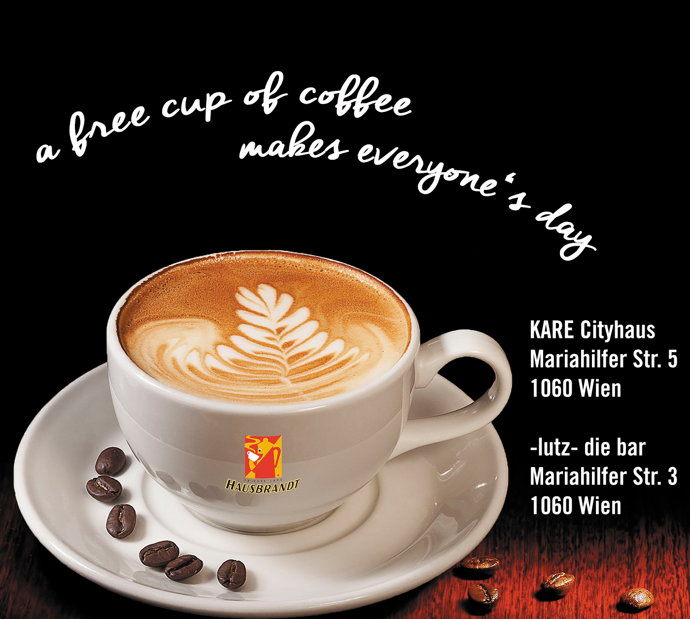 Austria free cup of coffee at kare powered by lutz the bar Kare gutschein