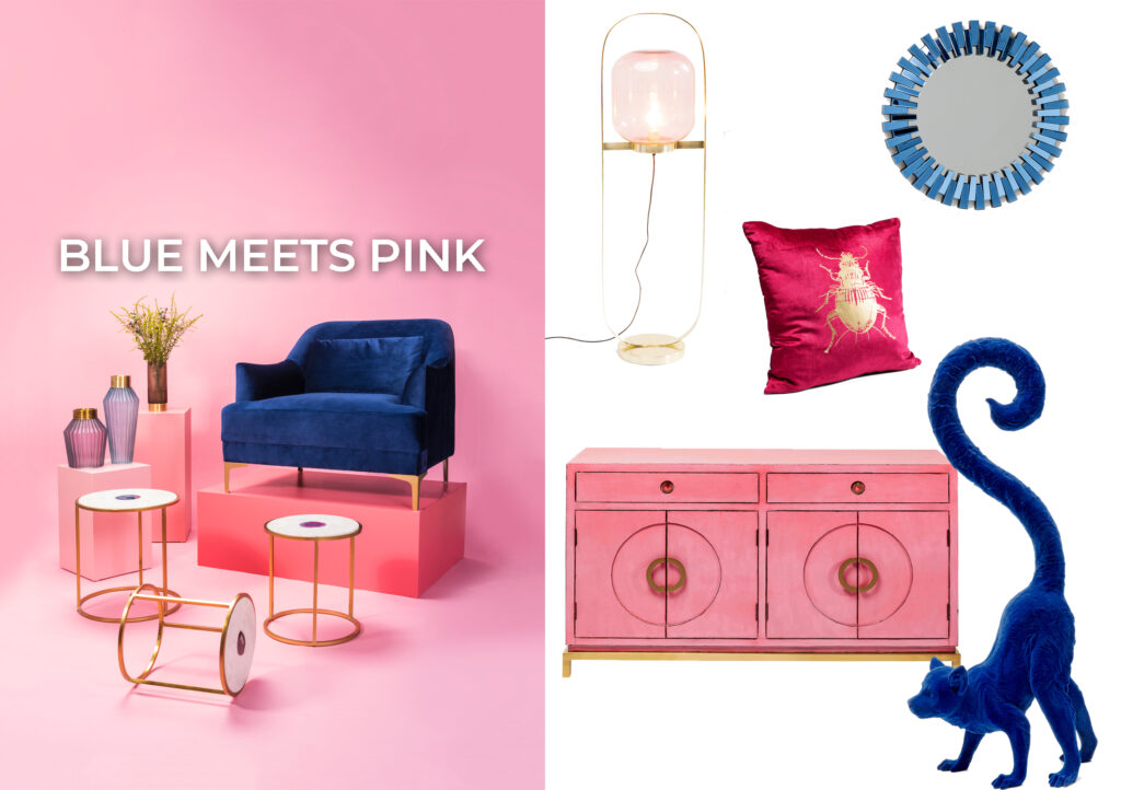blue and pink interior