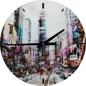 Wall Clock Glass Times Square Ø40cm- $89