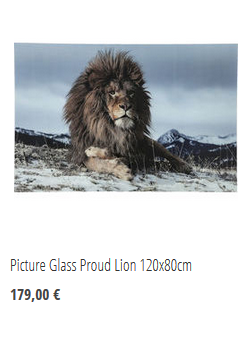 Picture Glass Proud Lion 120x80cm