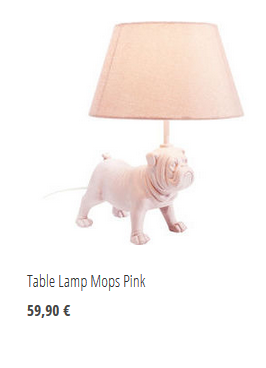 Table Lamp Mops Pink