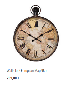 Wall Clock European Map 96cm