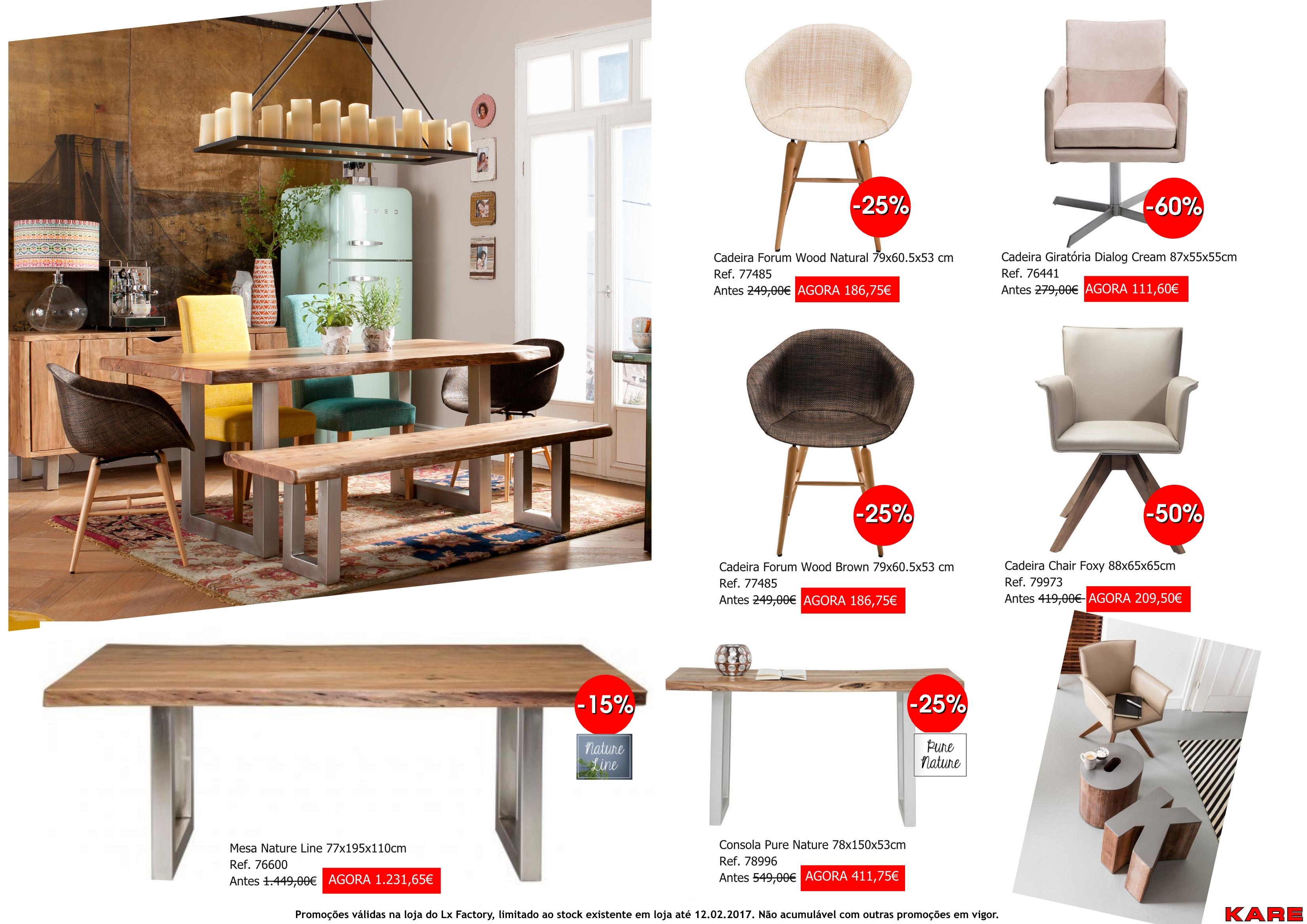 Promoções - cadeiras e mesa nature line pure nature