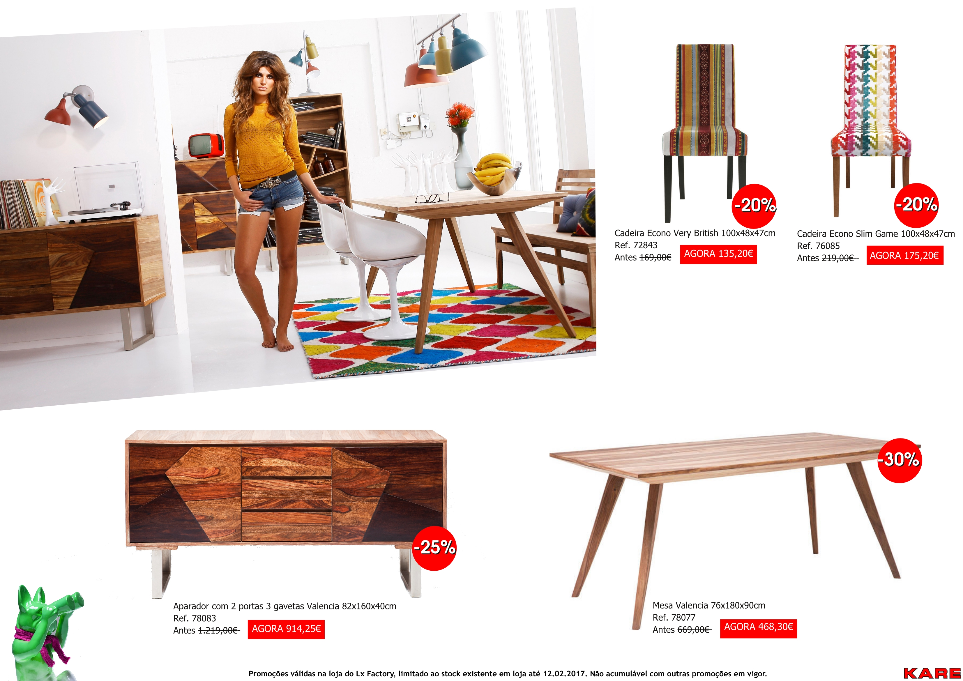 Promoções - cadeiras e mesa valencia